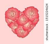 red roses in lovely heart...   Shutterstock .eps vector #1515224624