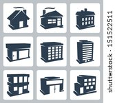 vector isolated buildings icons ... | Shutterstock .eps vector #151522511