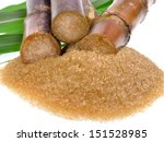 Sugar Cane Isolated On White...