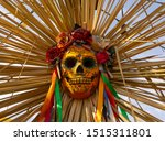Small photo of Mexican sugar skull decoration. Dead skull female face vector illustration for spooky halloween festival, paty. Woman sugar head makeup for mexican party on dia de los muertos.