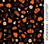 halloween seamless pattern with ... | Shutterstock .eps vector #1515377237