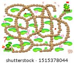 Stock vector logical puzzle game with labyrinth for children and adults help the frog find the way till his 1515378044