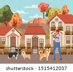 young man with cute dogs... | Shutterstock .eps vector #1515412037