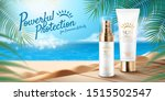 summer sunblock product ads on...   Shutterstock .eps vector #1515502547
