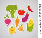 cute vegetable  broccoli ...   Shutterstock .eps vector #151553381