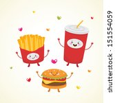 Cute fast food: burger, soda, french fries
