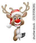 christmas reindeer in a santa... | Shutterstock . vector #1515558281