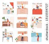 set of images of cooking people.... | Shutterstock .eps vector #1515559727