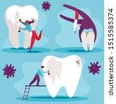 Dental Health Set. Cleaning...