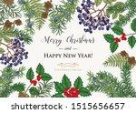 vintage christmas card. hand... | Shutterstock .eps vector #1515656657