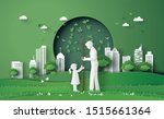 green city with mom and girl ... | Shutterstock .eps vector #1515661364