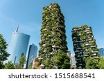 MILAN, ITALY - MAY 31, 2019: Bosco Verticale Or Vertical Forest Are A Pair Of Residential Towers In Milan. The Buildings Contain More Than 900 Trees, 5000 Shrubs and 11000 Floral Plants. - stock photo
