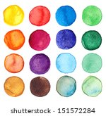 Set of multicolored watercolor...