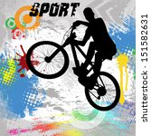 BMX cyclist on abstract grunge background, vector illustration
