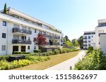 Housing estate with modern residential buildings in the city - stock photo
