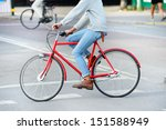 Red bicycle in profile - stock photo
