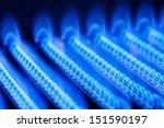 Blue Flames Of A Gas Burner...