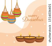 happy dussehra festival of... | Shutterstock .eps vector #1516036601