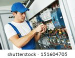 young adult electrician builder ... | Shutterstock . vector #151604705