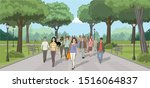 group of people in the park.... | Shutterstock .eps vector #1516064837