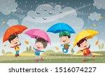 children using umbrella under...   Shutterstock .eps vector #1516074227