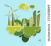 eco friendly green city trees ... | Shutterstock .eps vector #151608869