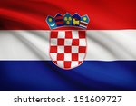 croatian flag blowing in the... | Shutterstock . vector #151609727