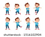 cute kid with many gesture... | Shutterstock .eps vector #1516102904