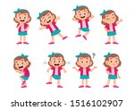 cute kid with many gesture...   Shutterstock .eps vector #1516102907