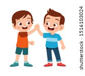 cute happy kid hand shake with... | Shutterstock .eps vector #1516103024