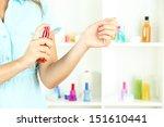 woman testing perfume on shop... | Shutterstock . vector #151610441