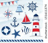 nautical design elements ... | Shutterstock .eps vector #151611374