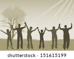 arms raised,cheerful,child,christianity,grass,group of people,hand raised,happiness,holding hands,human gender,human hand,inside of,love,mature adult,men