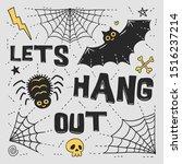 halloween doodles tee shirt... | Shutterstock .eps vector #1516237214