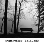 Park Bench In The Mist  Black...