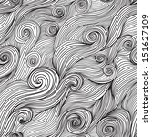 Vector seamless wave hand-drawn pattern, waves background (seamlessly tiling).Can be used for wallpaper, pattern fills, web page background,surface textures. Vector hand-drawn waves texture - stock vector
