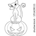 cat sitting on halloween... | Shutterstock .eps vector #151628111