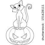 cat sitting on halloween... | Shutterstock .eps vector #151628111