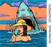A Shark Attacks A Woman At Sea. ...