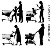 Editable vector silhouettes of people and their supermarket shopping trolleys with all elements as separate objects