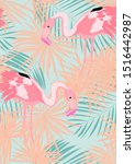 pink cute flamingo and palm... | Shutterstock .eps vector #1516442987