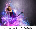 rock passionate girl with black ... | Shutterstock . vector #151647494