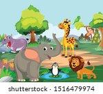 elephant  lion  monkey  giraffe ... | Shutterstock .eps vector #1516479974