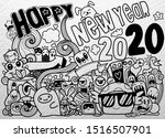 new year 2020 doodle hipster... | Shutterstock .eps vector #1516507901