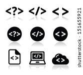 progrmming code vector icons set