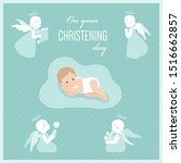 Baby Christening Card With...