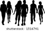 couples walking   vector | Shutterstock .eps vector #1516741