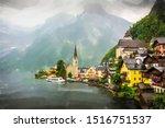 Hallstatt  Austria. Mountain...