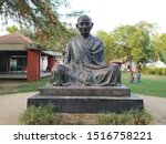 Small photo of Ahmedabad, Gujarat/India- October 02 2019: Statue of Mahatma Gandhi at Sabarmati Ashram in India. Leader of peaceful political movement in second world war.