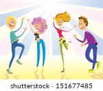 happy young people dancing at... | Shutterstock .eps vector #151677485